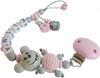 Schnullerkette 3D Maus für Mädchen rosa grau