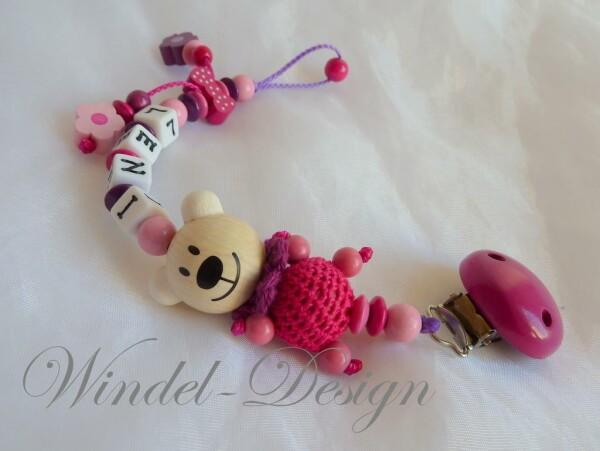 Schnullerkette Bärchen in pink