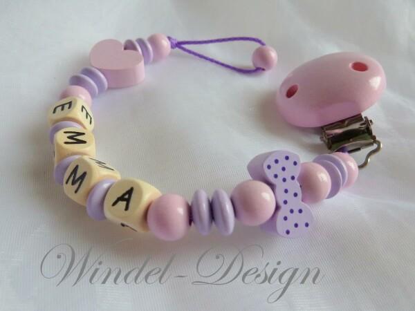 Schnullerkette Schleifchen flieder rosa mit Herz