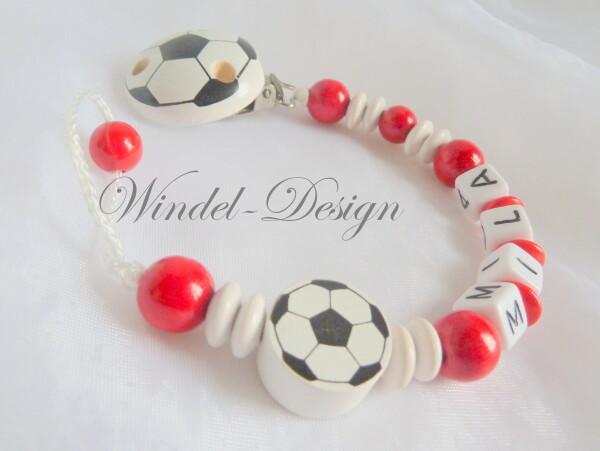 Schnullerkette Die Füßballkette in rot-weiß